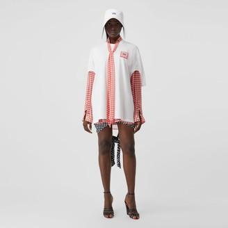 Burberry Logo Applique Cut-out Sleeve Cotton Oversized T-shirt