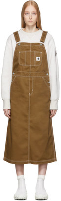 Carhartt Work In Progress Brown W Bib Long Overall Dress