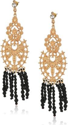 Steve Madden Gold Floral Design Fringe Drop Earrings