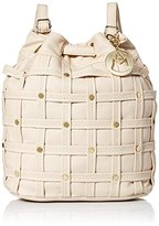 MG Collection Studded Woven Bucket Drawstring Backpack