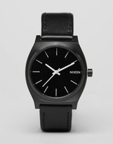 Nixon Time Teller Leather Watch In Black