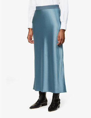 Theory High-waist satin maxi skirt
