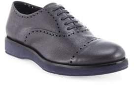 Giorgio Armani Brogue Pebbled Leather Oxfords