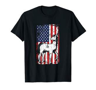 Mini A Ture July 4th Apparel By Crush Retro 4th of July American Flag Miniature Horse Lover Gifts T-Shirt