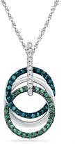 Zales 1/4 CT. T.W. Enhanced Green, Blue and White Diamond Circles Pendant in 10K White Gold