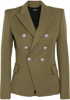 Balmain Double-breasted Wool Blazer - Army green