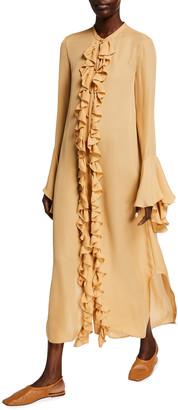 KHAITE Callen Frilly Silk Georgette Shirtdress