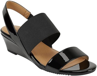 Aerosoles Pull-On Patent Banded Wedge Sandals -Alma