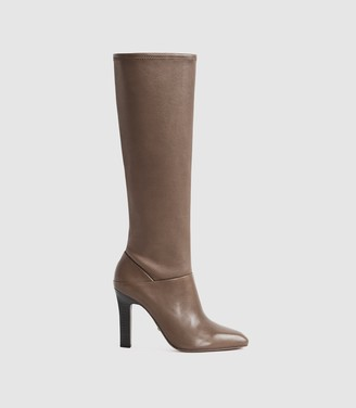 Reiss CRESSIDA LEATHER KNEE HIGH BOOTS Taupe