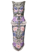 Matthew Williamson Rainforest Rose Embroidered Feather Dress