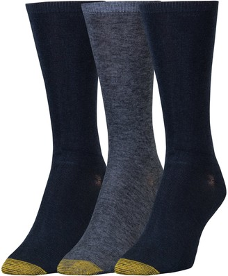 Gold Toe Women's Non-Binding Flat Knit Crew Socks 3 Pairs