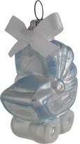 Oberfraenkische Glas Orn-Glass Baby Pram Carriage Blue Ornament