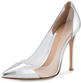 Gianvito Rossi Plexi Metallic Illusion 105mm Pump, Silver