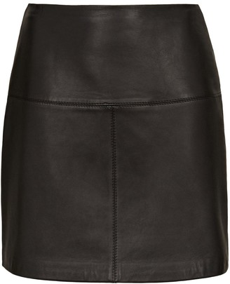 Ted Baker ALine Leather Mini Skirt - Black