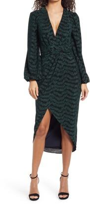 Saylor Camila Plunge Neck Long Sleeve Midi Dress