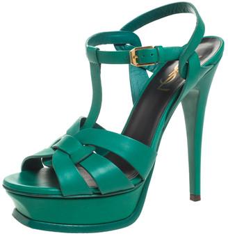 Saint Laurent Paris Green Leather Tribute Platform Ankle Strap Sandals Size 37