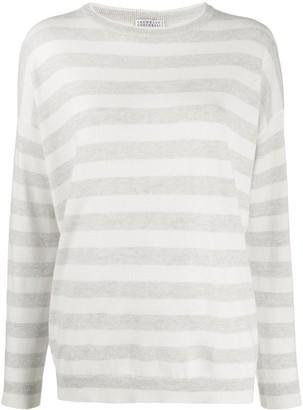 Brunello Cucinelli long sleeve striped sweater