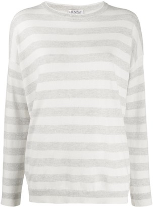 Brunello Cucinelli Long Sleeve Striped Sweater