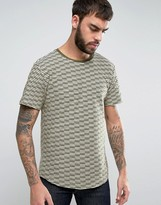 ONLY & SONS Longline T-Shirt With Curved Hem And Jacquard Stripe