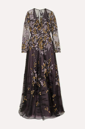 Naeem Khan Embroidered Tulle Gown - Black