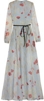 Valentino Belted Floral-print Silk-chiffon Gown - Sky blue