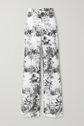 Adam Lippes Printed Cotton-blend Twill Wide Leg Pants - Ivory