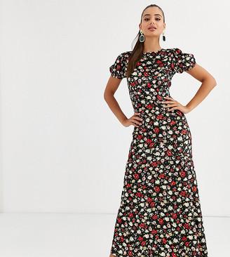 Asos DESIGN Tall printed velvet maxi tea dress