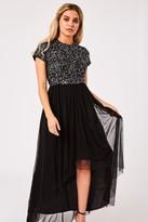 Little Mistress Elise Black Hand-Embellished Sequin Hi-Low Prom Dress