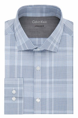 Calvin Klein Men's Dress Shirts Xtreme Slim Fit-Thermal Stretch Plaid