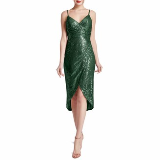 MACloth Women Spaghetti Strap Sweetheart Hilo Wrap Sequin Cocktail Party Dresses (22