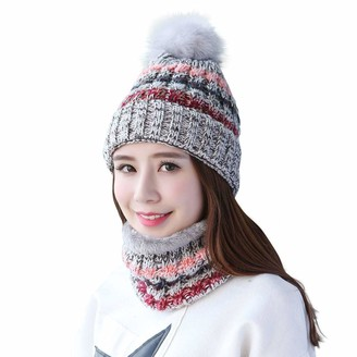 Home Prefer Women Lady Warm Soft Knitted Pom Pom Hat and Scarf Set Snow Ski Skull Cap Neck Scarf Set Grey