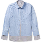 Vetements Comme des Garçons SHIRT Oversized Layered Striped Cotton-Poplin Shirt