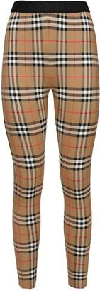 Burberry High Waist Check Print Lycra Leggings