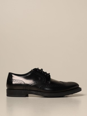 Tod's Derby In Brushed Leather With Brogue Motif