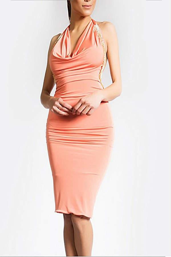 Savee Couture Rhinestones Drape Dress
