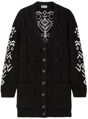 RED Valentino Embroidered Cable-knit Wool Cardigan