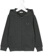 Dolce & Gabbana zip-up hooded sweatshirt - kids - Cotton/Calf Leather/zamac - 4 yrs