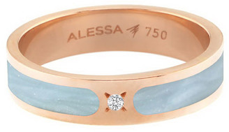 Alessa Jewelry Spectrum Painted 18k Rose Gold Stack Ring w/ Diamond, Light Blue, Size 7.5