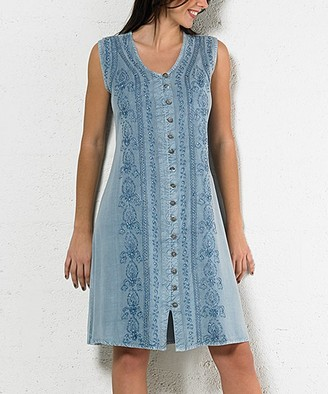 Coline Women's Casual Dresses SILVER - Silver Blue Embroidered Button-Up Sleeveless Dress - Women