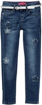 Betsey Johnson Star Patch Skinny Cuffed Jean with Sparkle Belt (Big Girls)