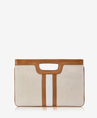 GiGi New York Camilla Clutch, Italian Canvas & Camel Leather