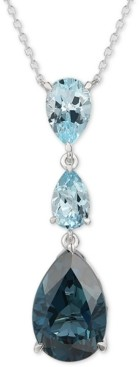 "LeVian Le Vian Deep Sea Blue Topaz (6-1/2 ct. t.w.) & Sky Blue Topaz (2-1/2 ct. t.w.) Adjustable 18"" Lariat Necklace in 14k White Gold"