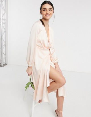 TFNC bridesmaid satin long sleeve wrap front midi dress in light blush