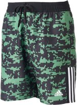 adidas Men's Camo Grid Microfiber Volley Swim Trunks