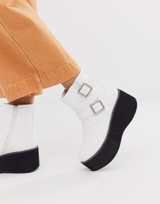 Truffle Collection chunky ankle boot in white