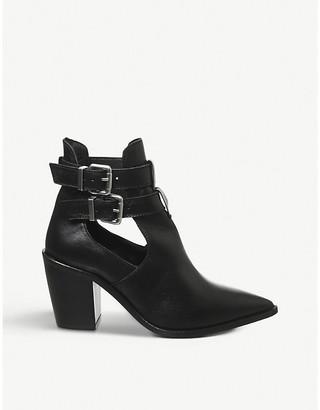 Office Amanda western block heel leather boots