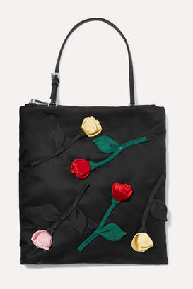 Prada Fiori Leather-trimmed Appliqued Nylon Tote - Black