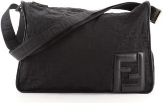 Fendi Zip Around Messenger Bag Zucca Canvas Large