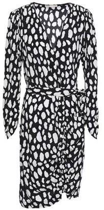 Maje Rosima Belted Printed Crepe Mini Dress