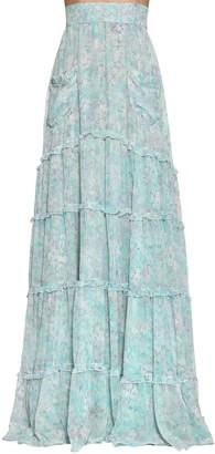Luisa Beccaria Long Floral Print Georgette Skirt
